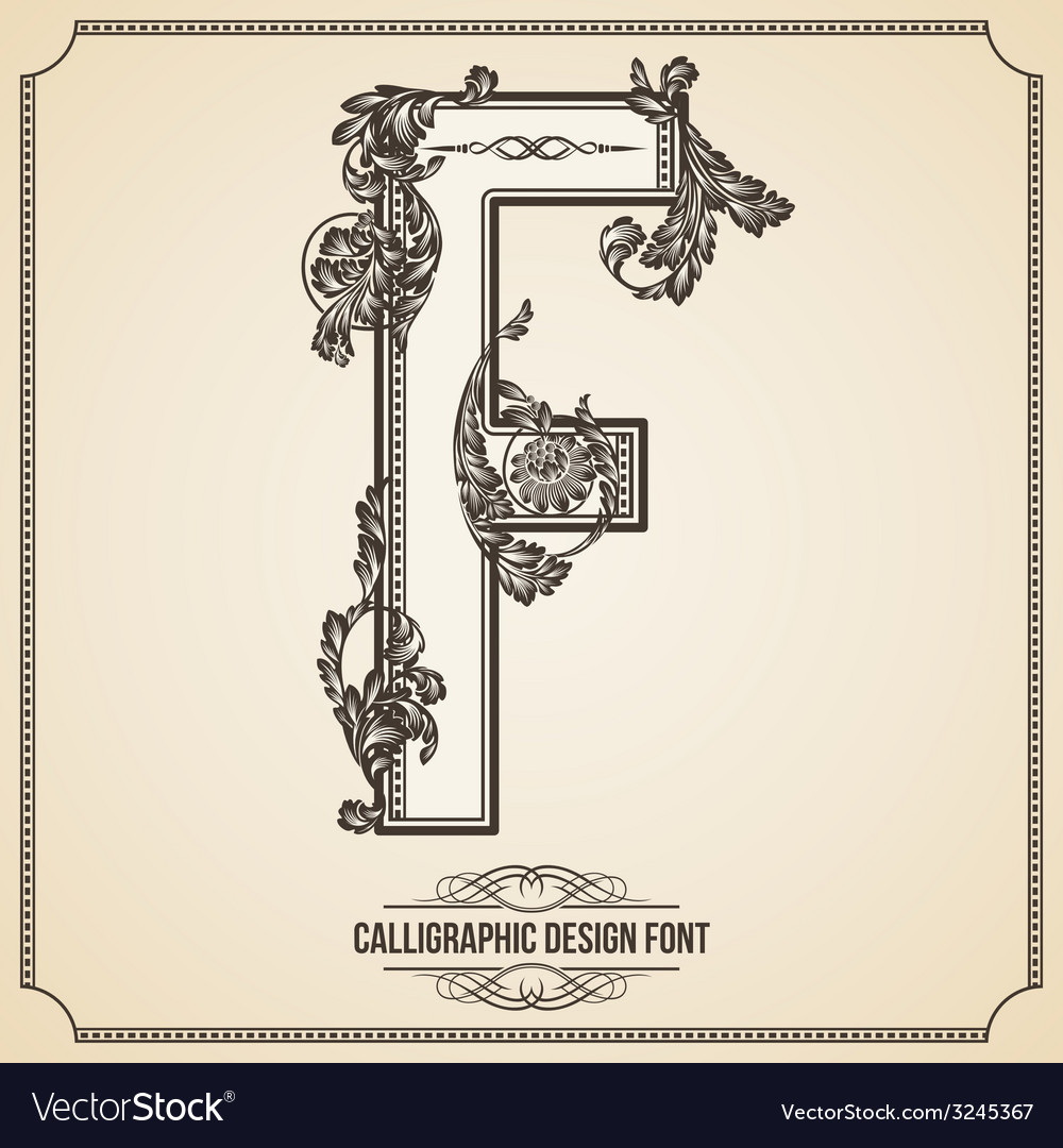 Calligraphic font letter f vector | Price: 1 Credit (USD $1)