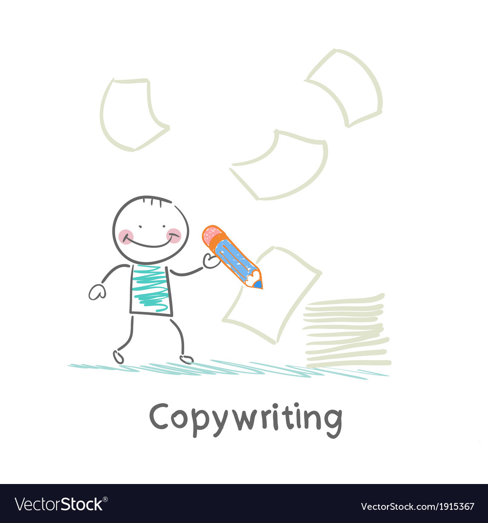 Copywriter writes on paper vector | Price: 1 Credit (USD $1)