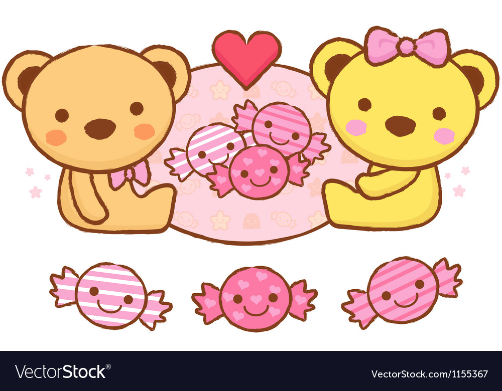 The cute a teddy bear mascot and candy vector | Price: 1 Credit (USD $1)