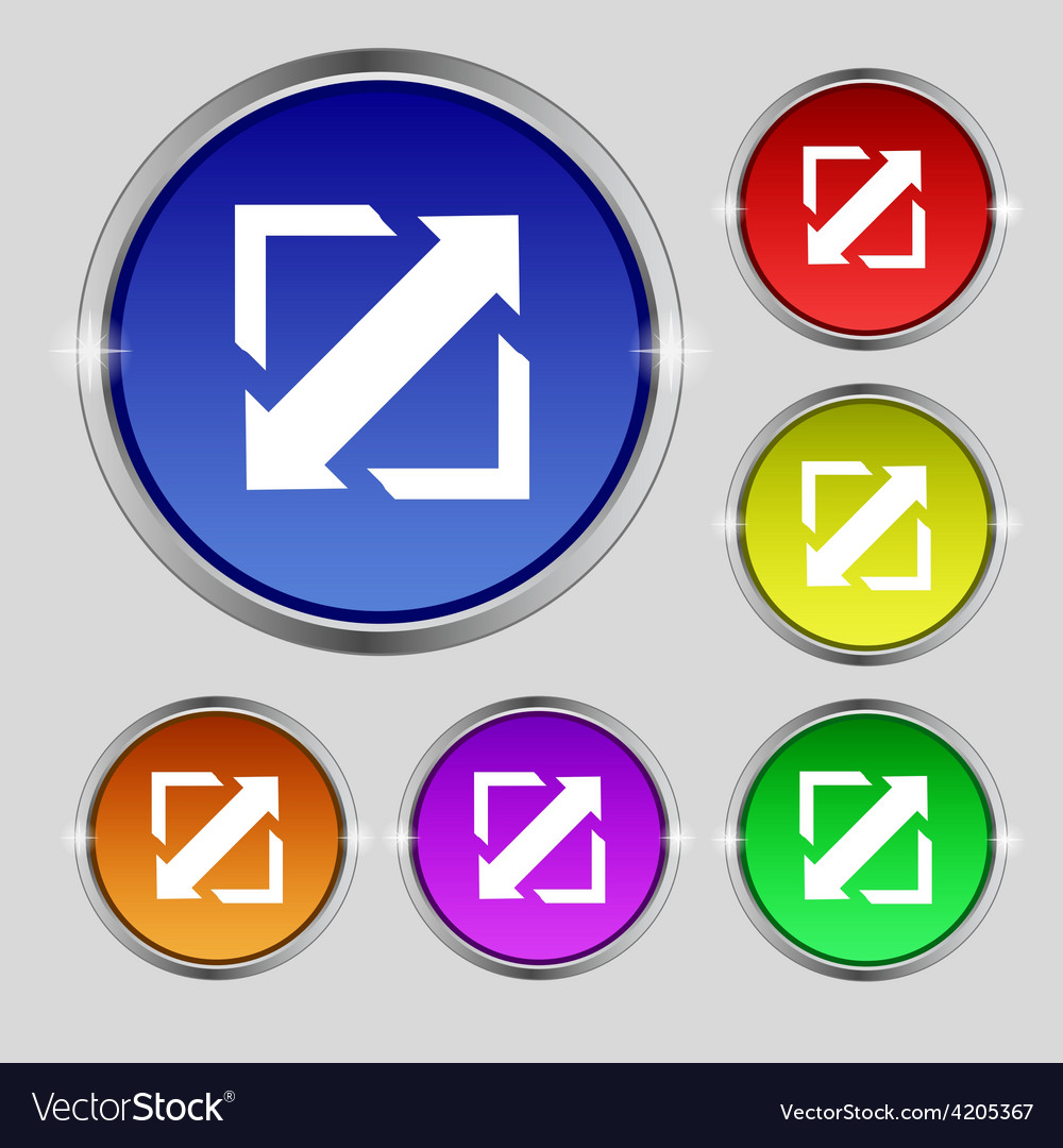 Deploying video screen size icon sign round symbol vector | Price: 1 Credit (USD $1)