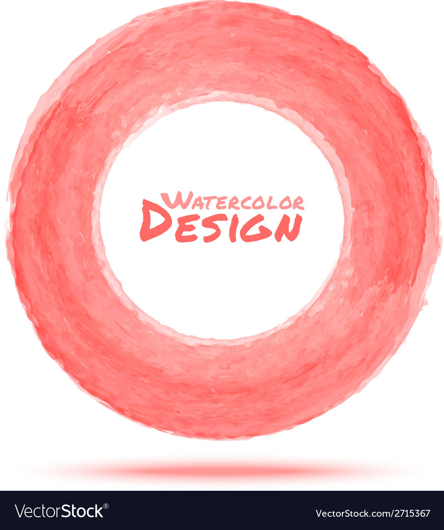 Hand drawn watercolor light red circle design elem vector | Price: 1 Credit (USD $1)