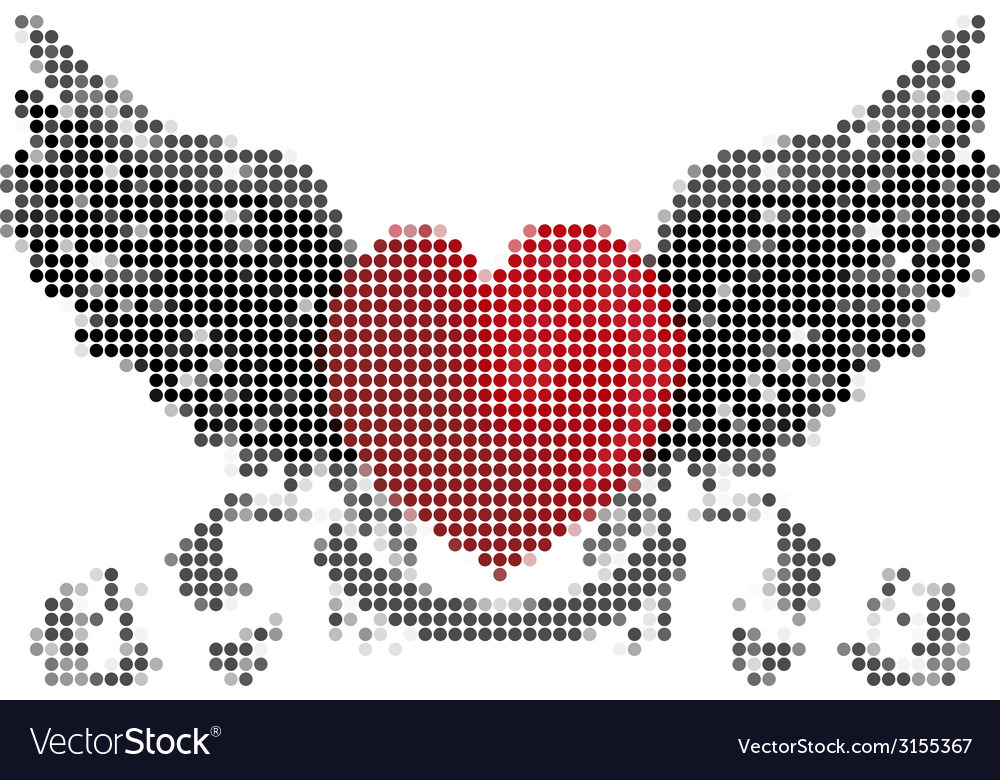 Heart with wings and ribbon vector | Price: 1 Credit (USD $1)