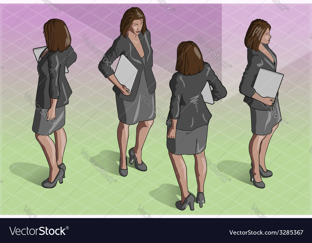 Isometric woman secretary standing vector | Price: 3 Credit (USD $3)