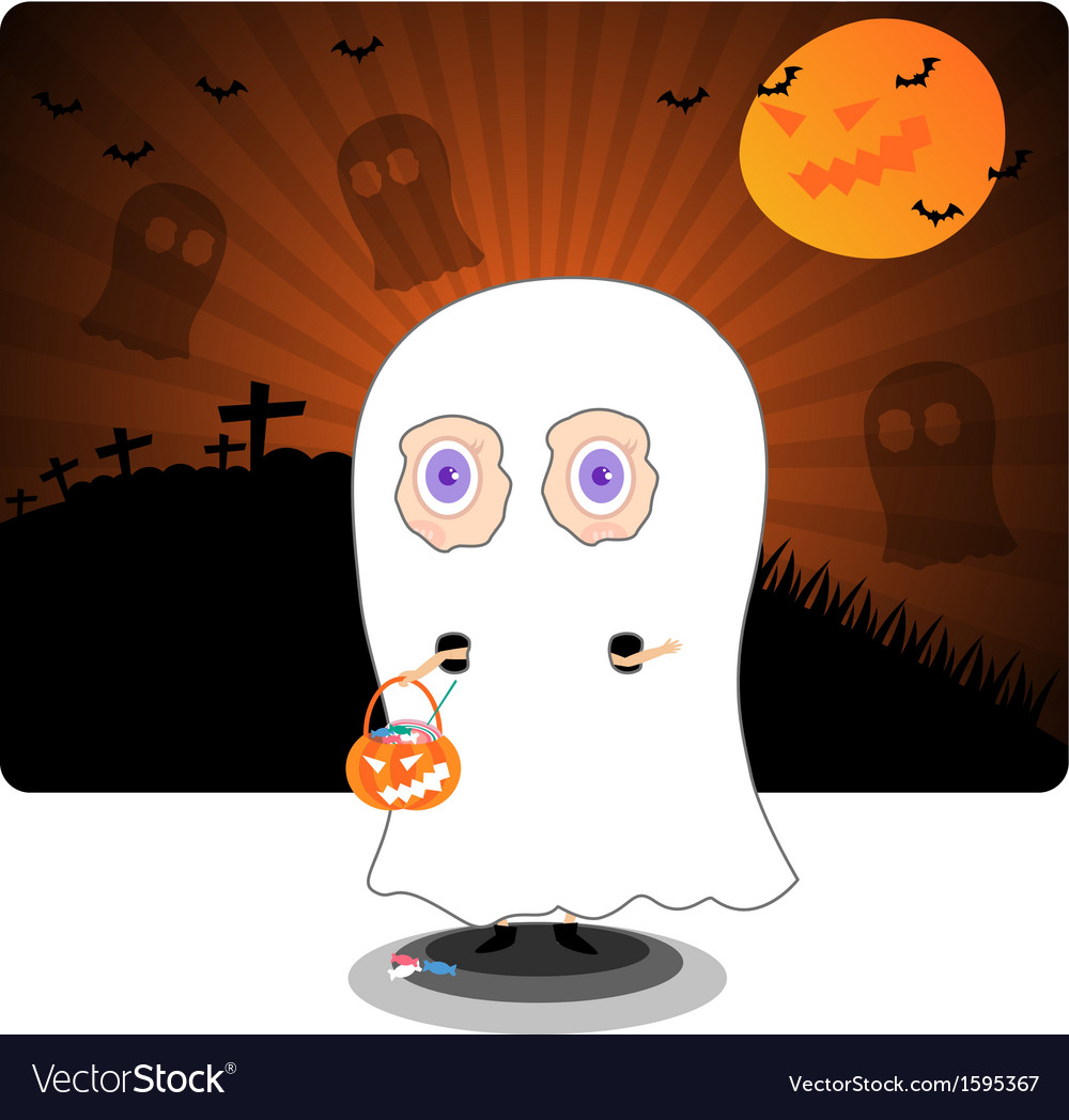 Little kid in halloween ghost costume vector | Price: 1 Credit (USD $1)