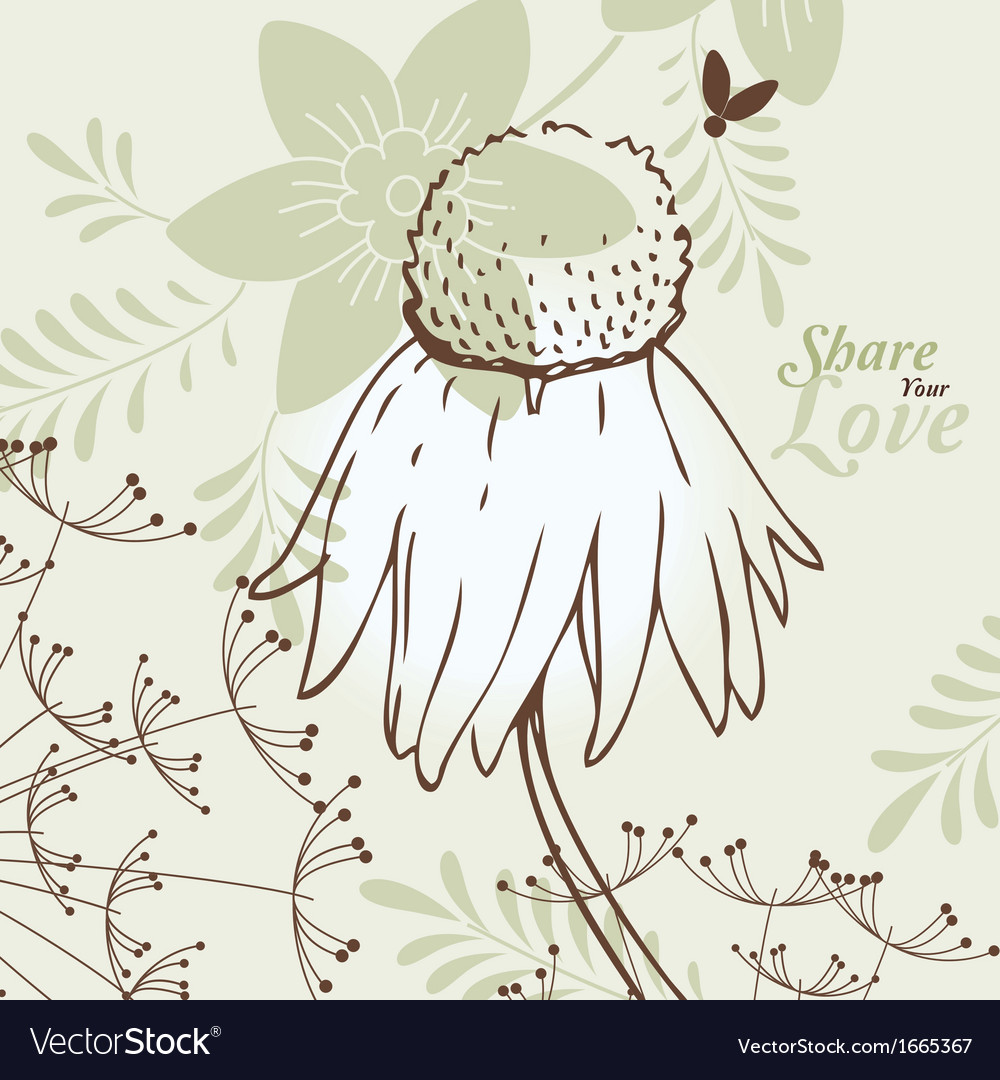 Love flowers elegant card vector | Price: 1 Credit (USD $1)