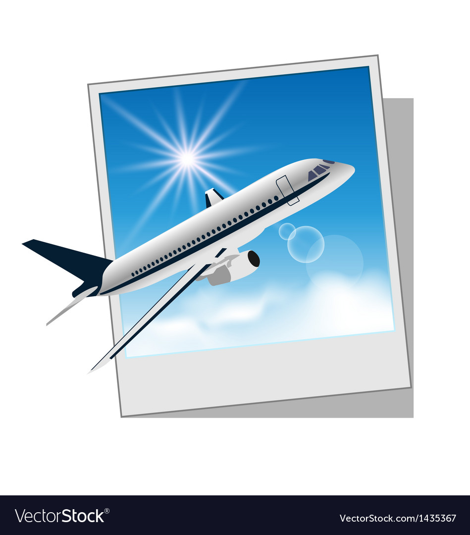 Photo frame with plane for travel design vector | Price: 1 Credit (USD $1)