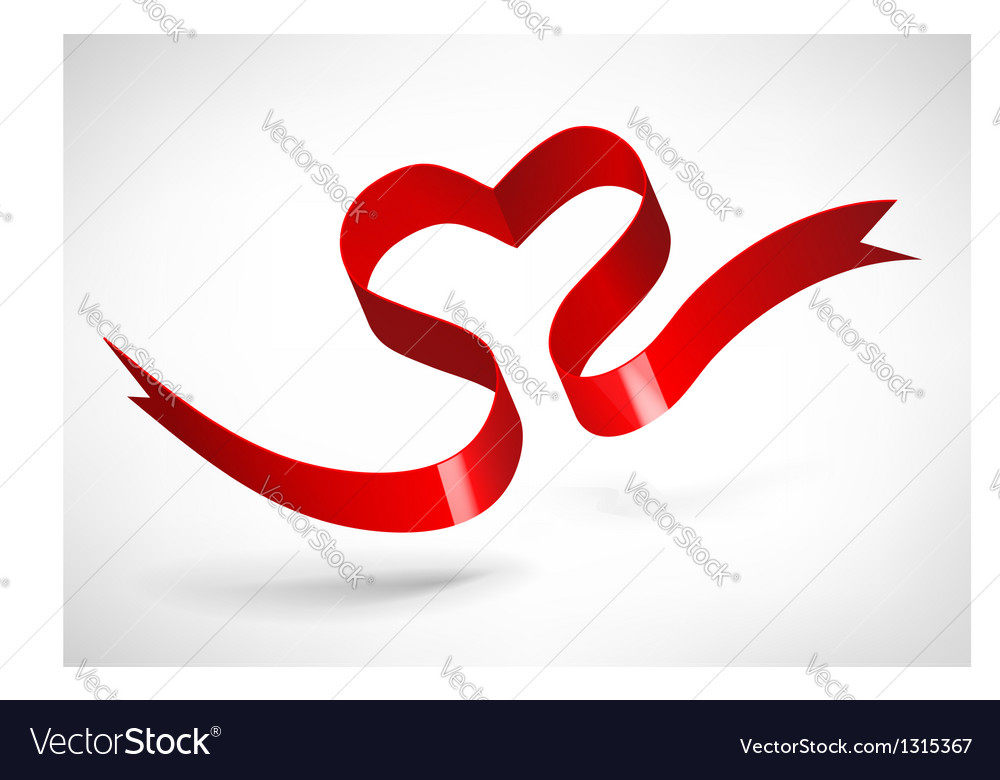 Red heart ribbon vector | Price: 1 Credit (USD $1)