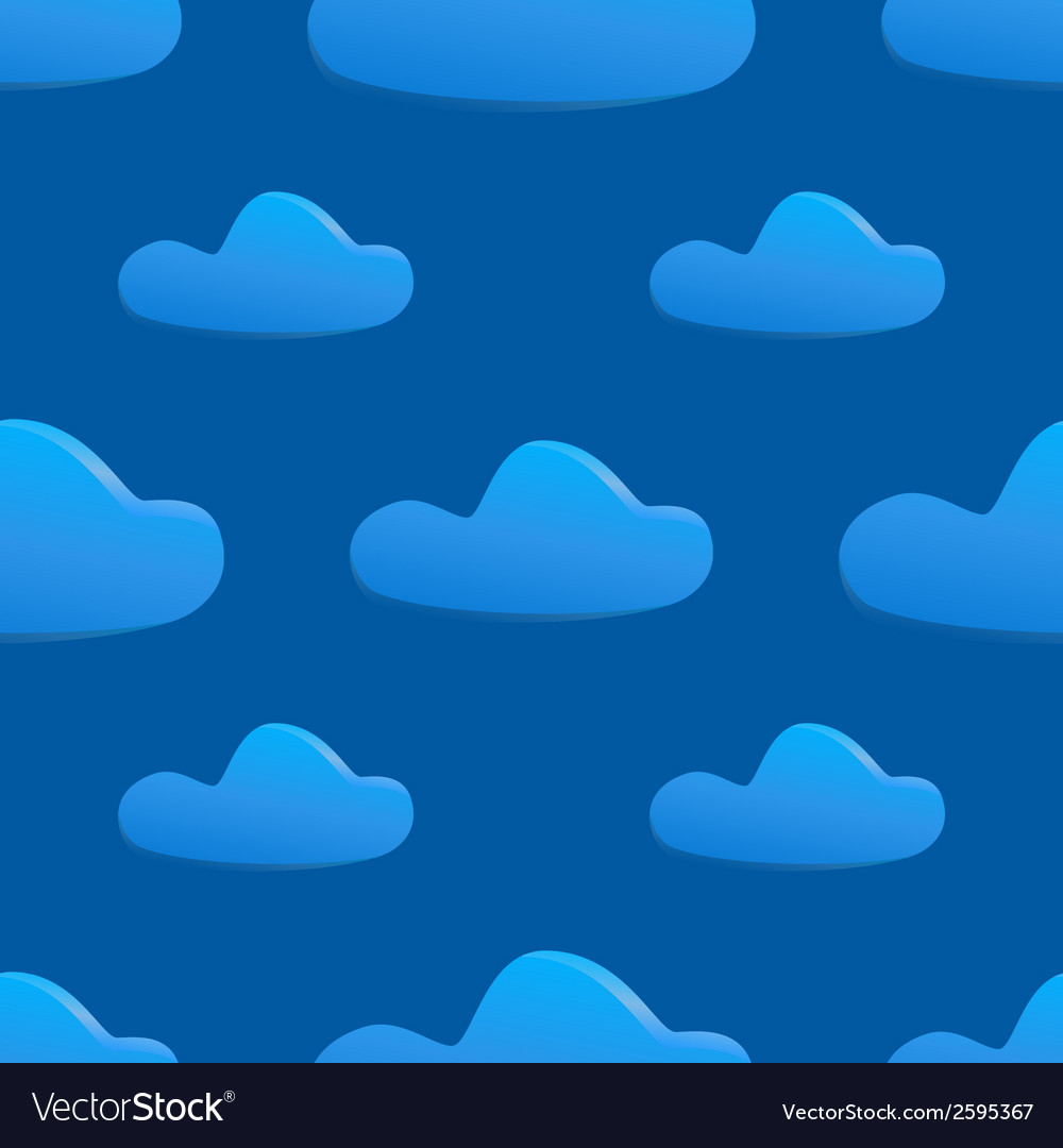 Seamless pattern of clouds on dark blue sky vector | Price: 1 Credit (USD $1)