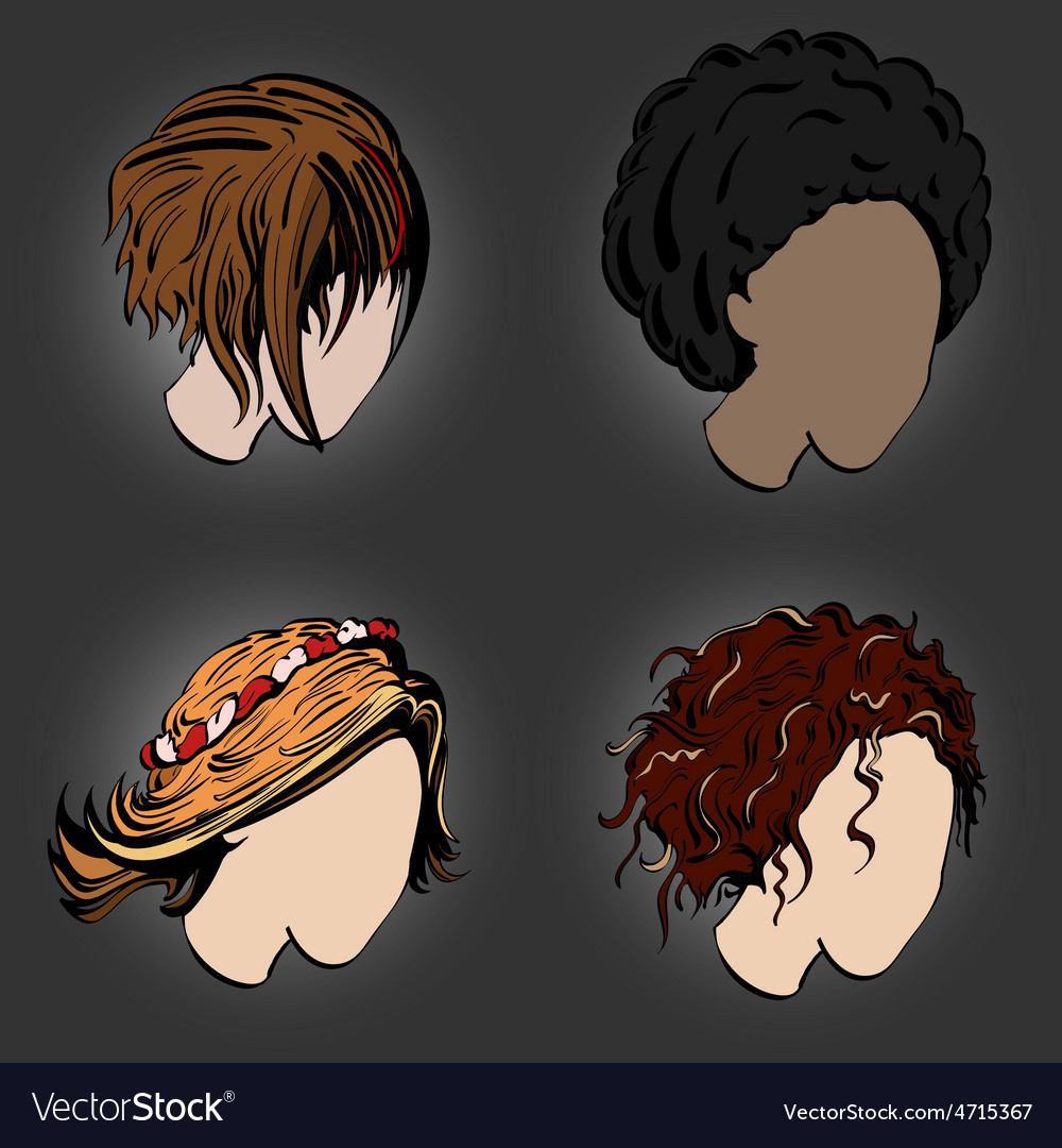 Stylish hairstyles vector | Price: 1 Credit (USD $1)