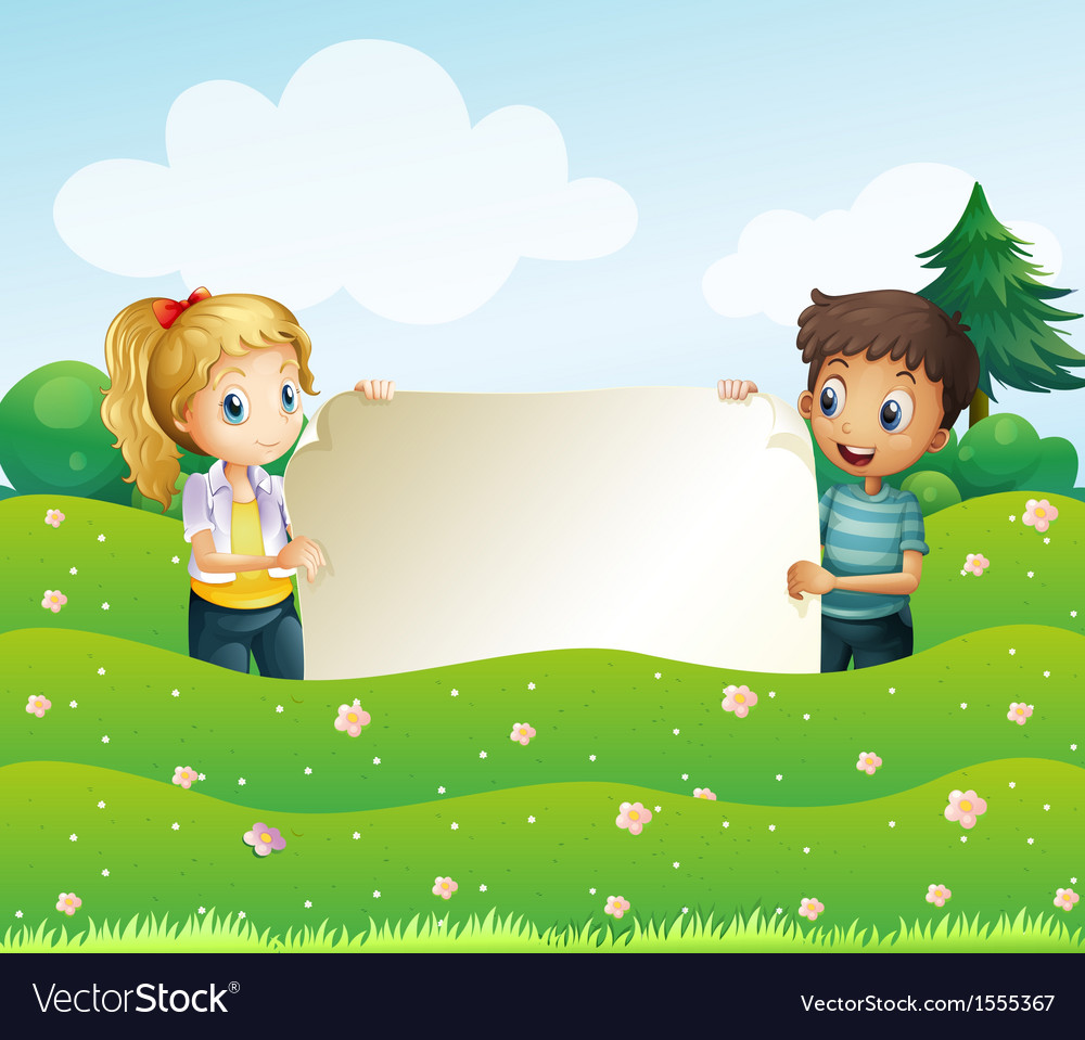 Two teens holding a wide empty signage vector | Price: 1 Credit (USD $1)
