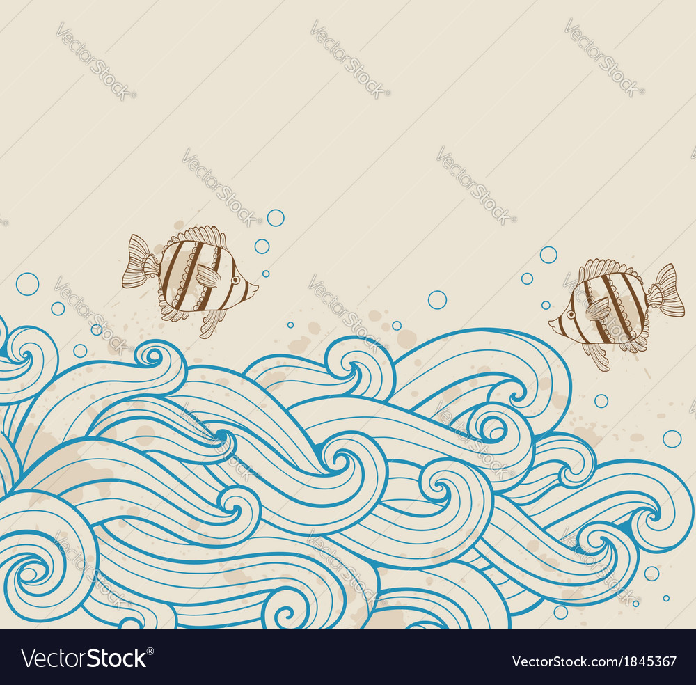 Vintage sea background with fishes vector | Price: 1 Credit (USD $1)