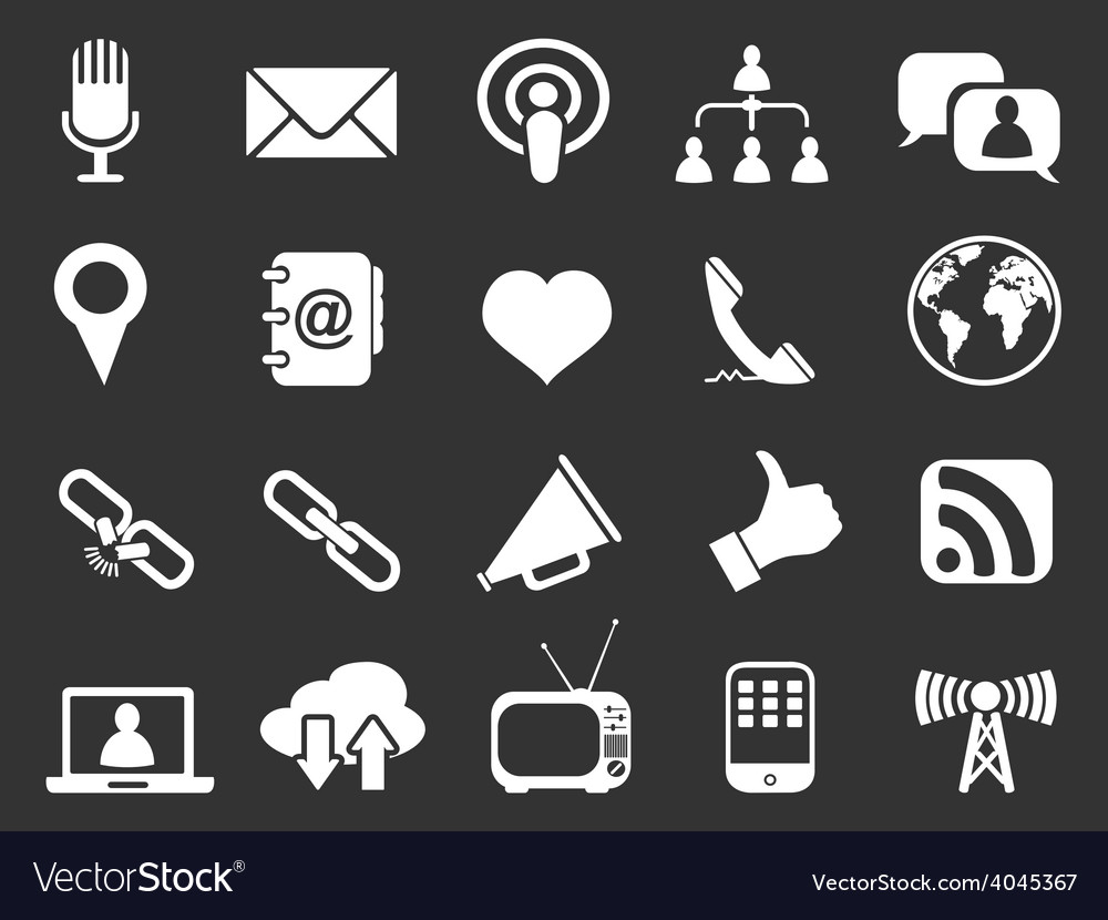 White communication icons set vector | Price: 1 Credit (USD $1)