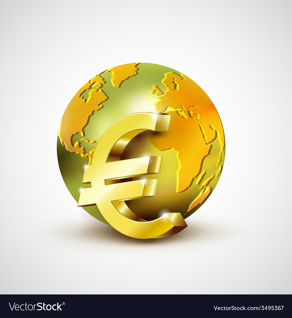 World economic concept with 3d gold world and euro vector | Price: 1 Credit (USD $1)