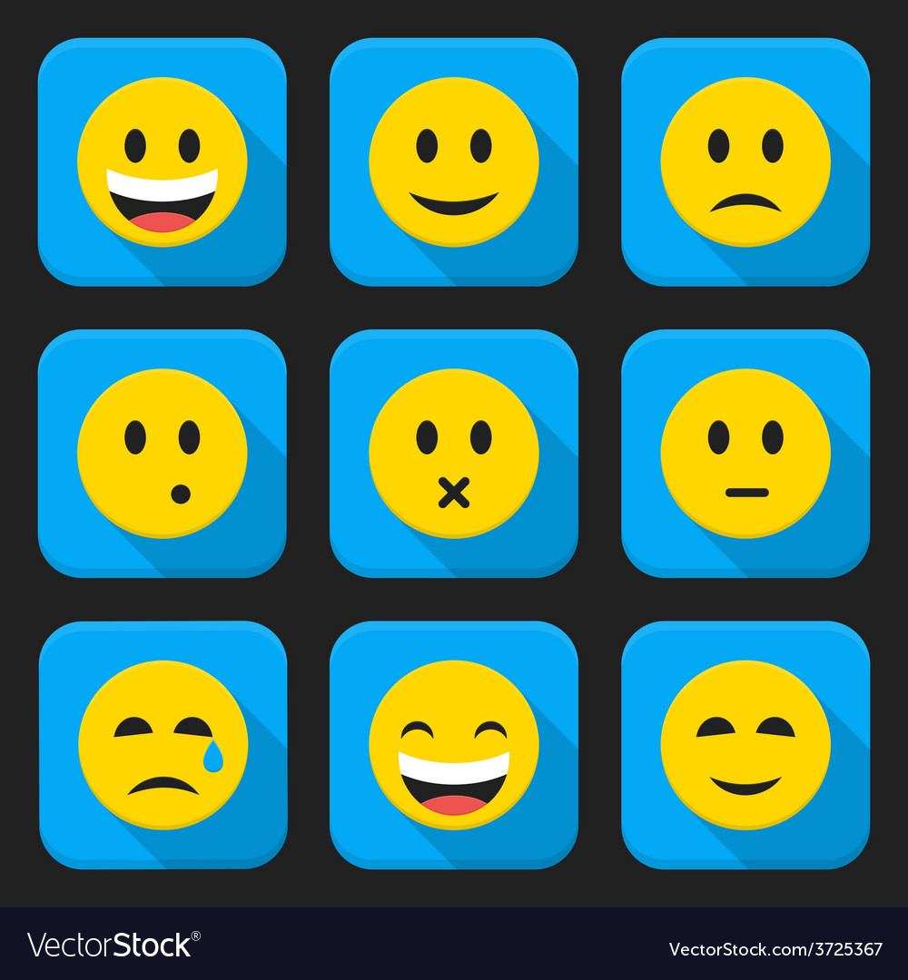 Yellow smiling faces squared app icon set vector | Price: 1 Credit (USD $1)