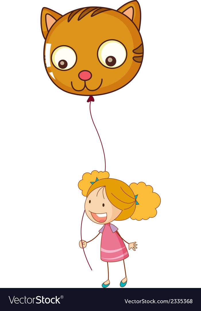 A smiling child holding a cat balloon vector | Price: 1 Credit (USD $1)