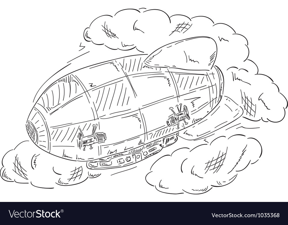 Airship at clouds vector | Price: 1 Credit (USD $1)