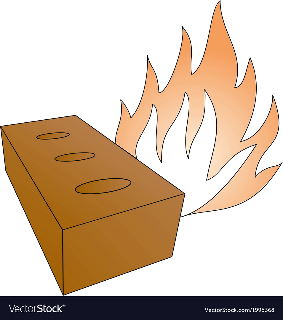 Brick and fireflames vector | Price: 1 Credit (USD $1)