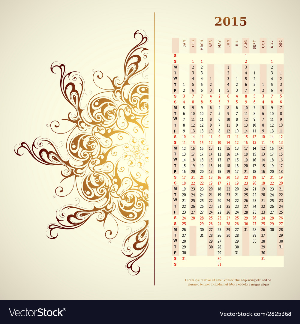Calendar 2015 vector | Price: 1 Credit (USD $1)