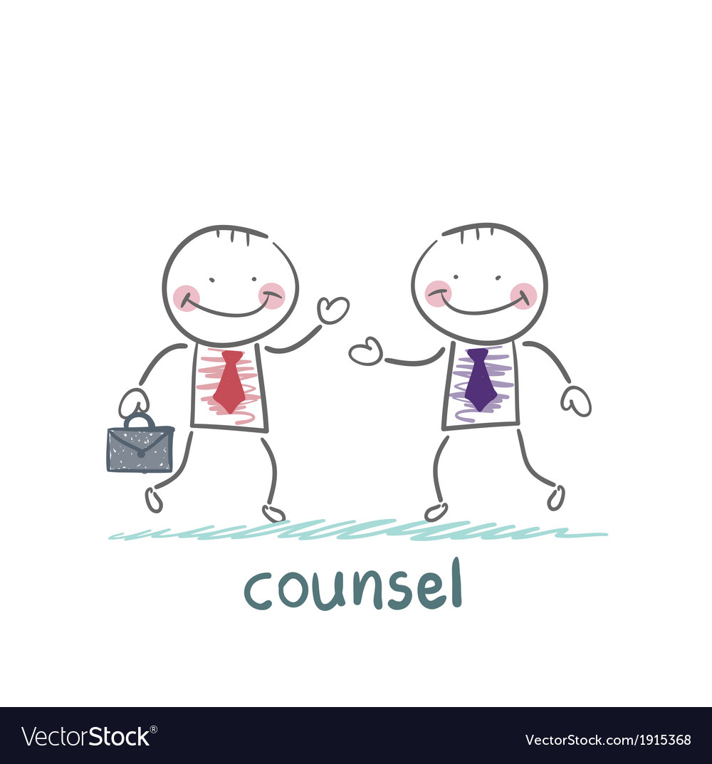 Counsel speaks with a client vector | Price: 1 Credit (USD $1)