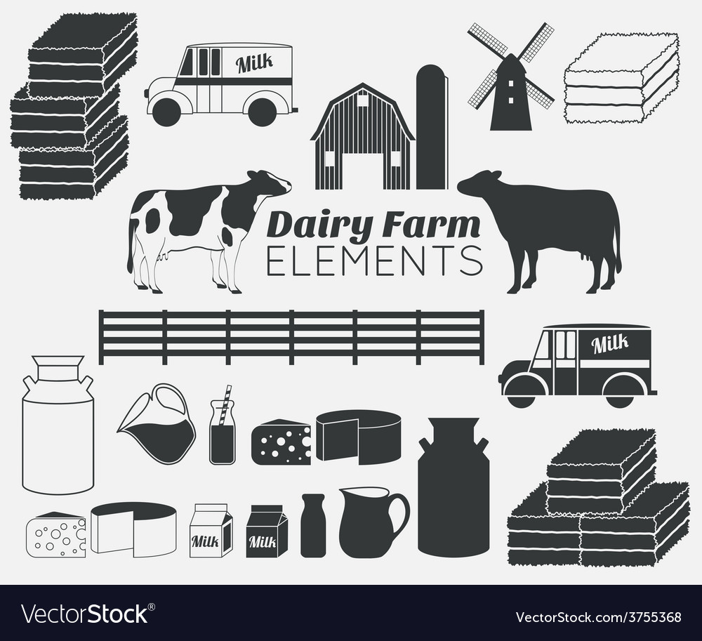 Dairy farm elements vector | Price: 1 Credit (USD $1)