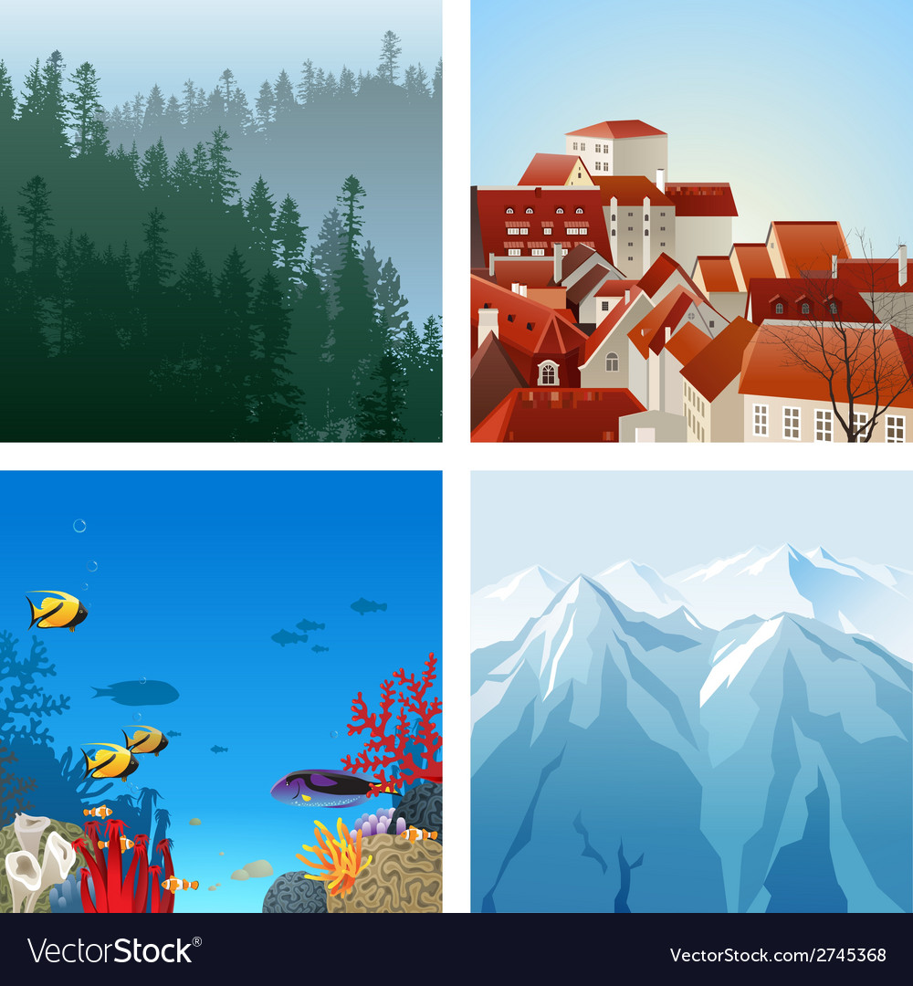 Landscapes set vector | Price: 1 Credit (USD $1)