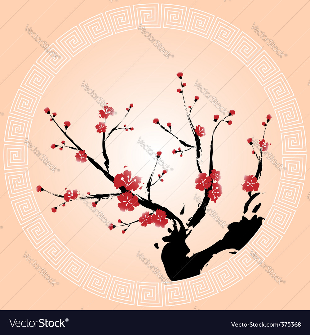 Oriental plum blossom vector | Price: 3 Credit (USD $3)