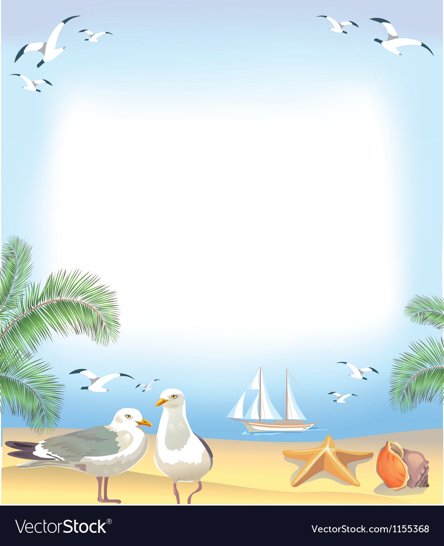 Sea beach frame vector | Price: 1 Credit (USD $1)