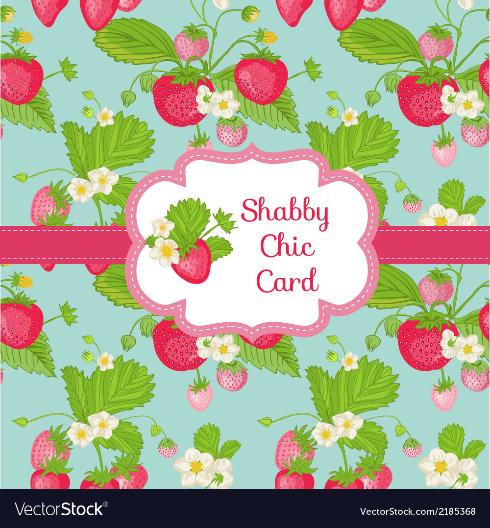Strawberry shabby chic theme vector | Price: 1 Credit (USD $1)