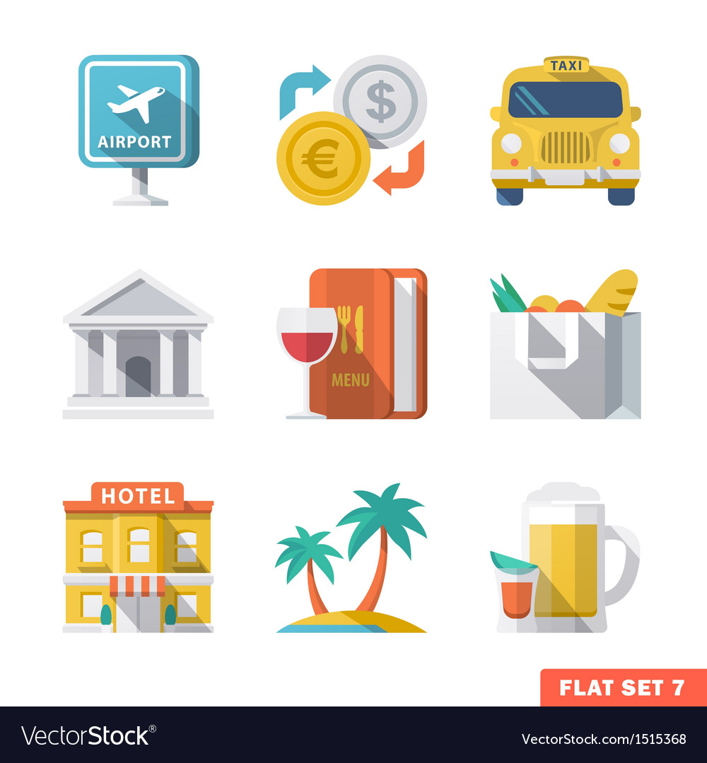 Traveling flat icons 1 vector | Price: 3 Credit (USD $3)