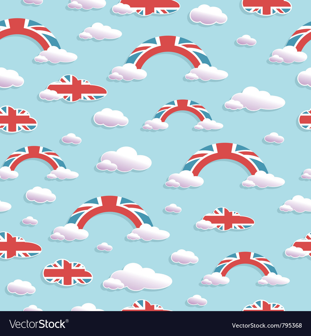 Uk cloud and rainbow pattern vector | Price: 1 Credit (USD $1)