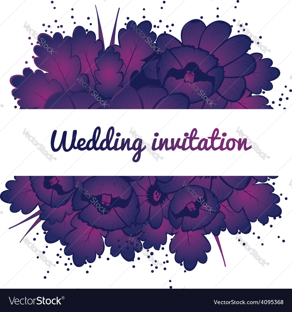 Wedding invitation with purple flowers vector   Price: 1 Credit (USD $1)