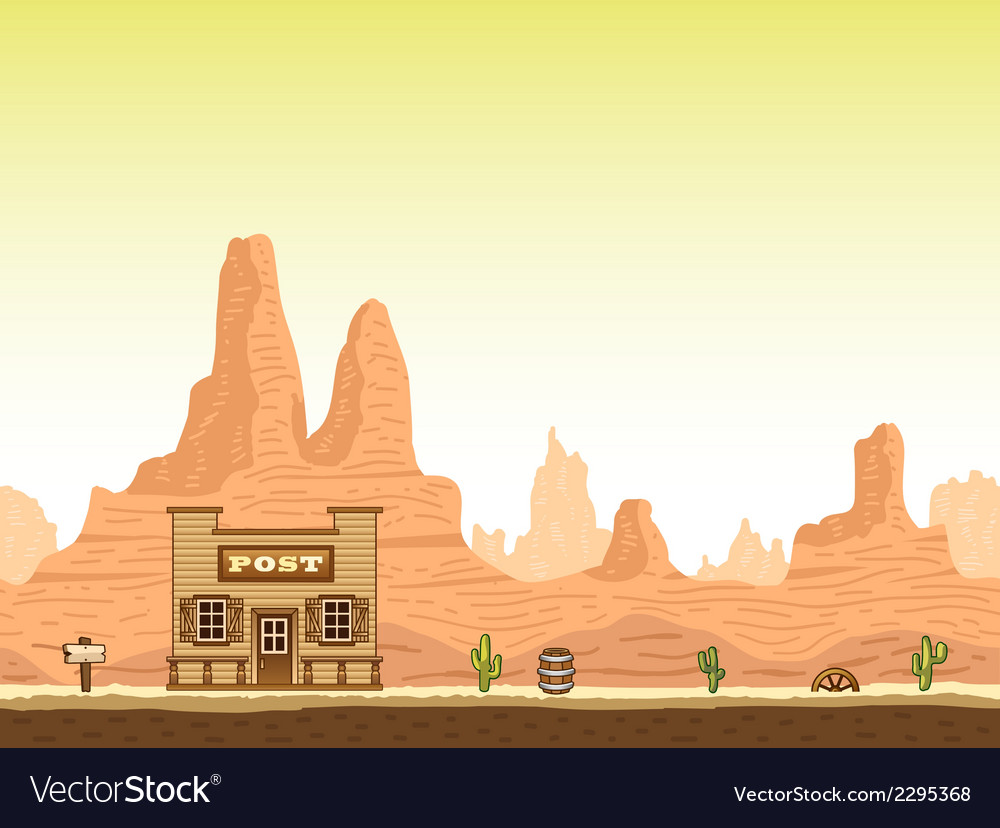 Wild old west canyon background with post vector | Price: 1 Credit (USD $1)