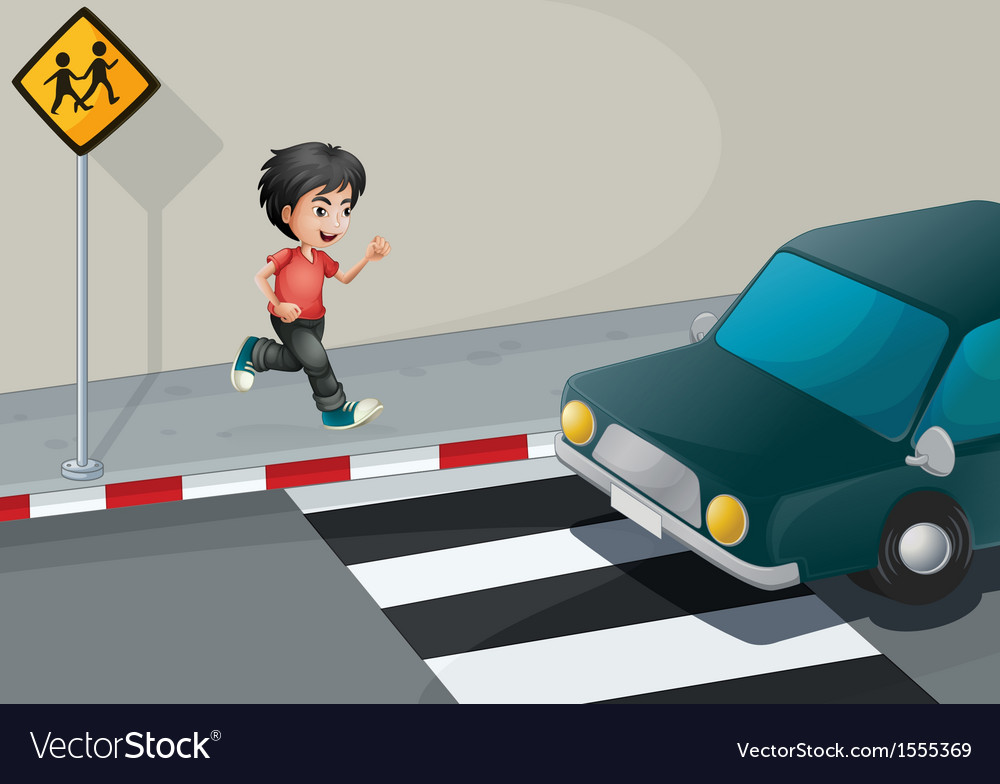 A boy at the street waiting for the car vector | Price: 1 Credit (USD $1)