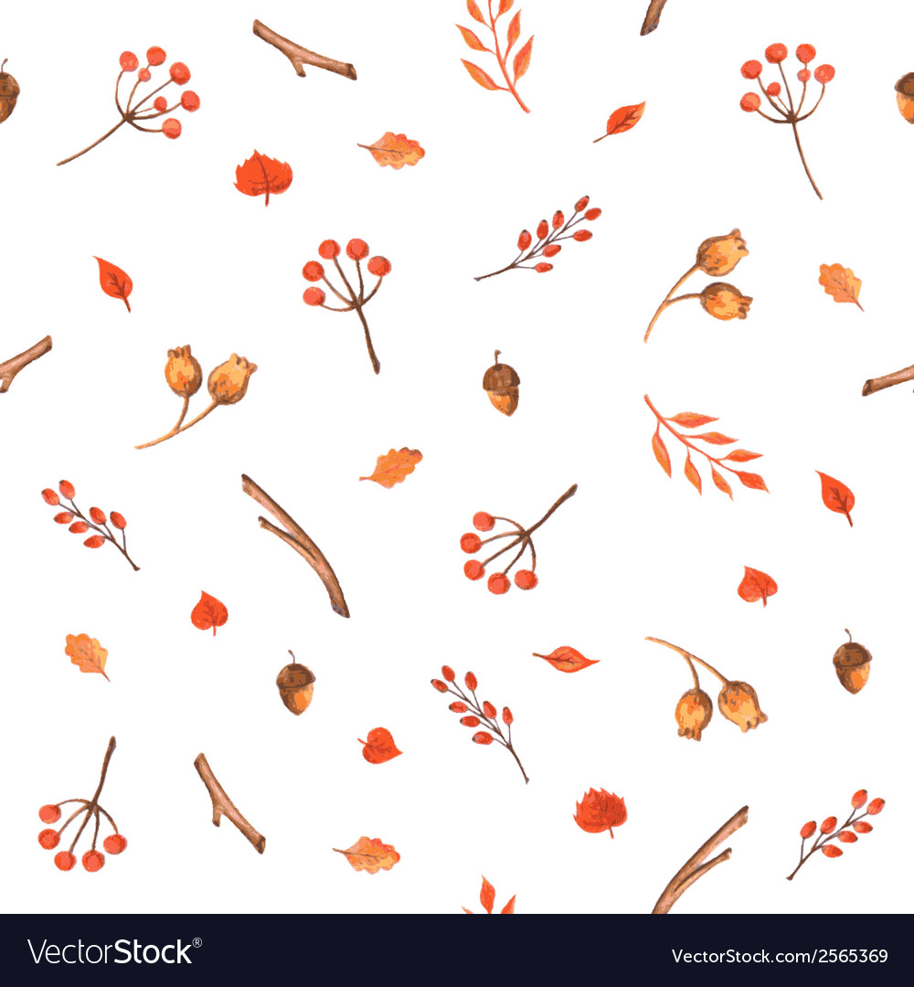 Autumn seamless pattern made of hand drawn leaves vector | Price: 1 Credit (USD $1)