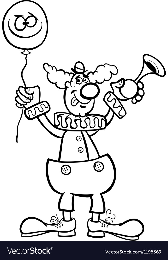 Clown cartoon for coloring vector | Price: 1 Credit (USD $1)