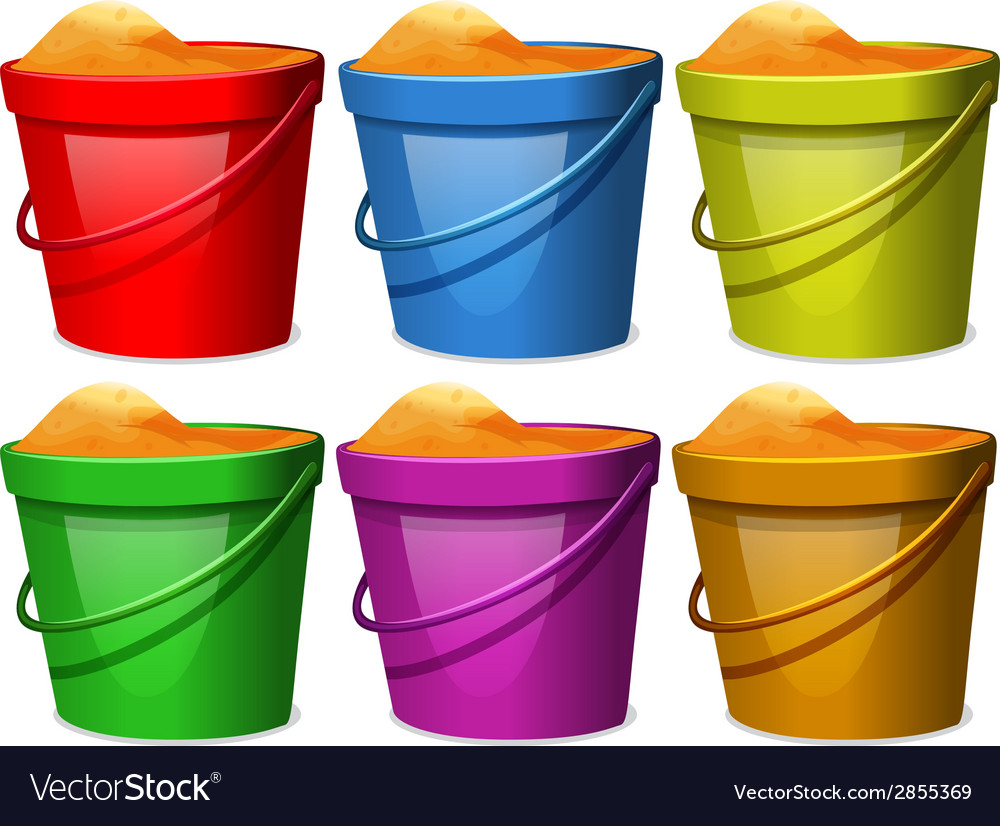 Colourful pails with sands vector | Price: 1 Credit (USD $1)