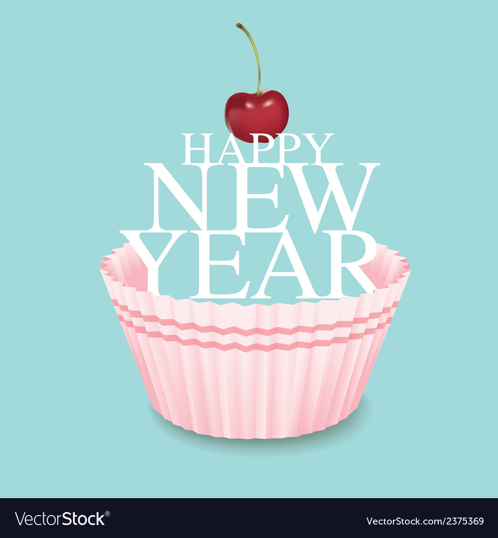 Cup cake new year 03 vector | Price: 1 Credit (USD $1)