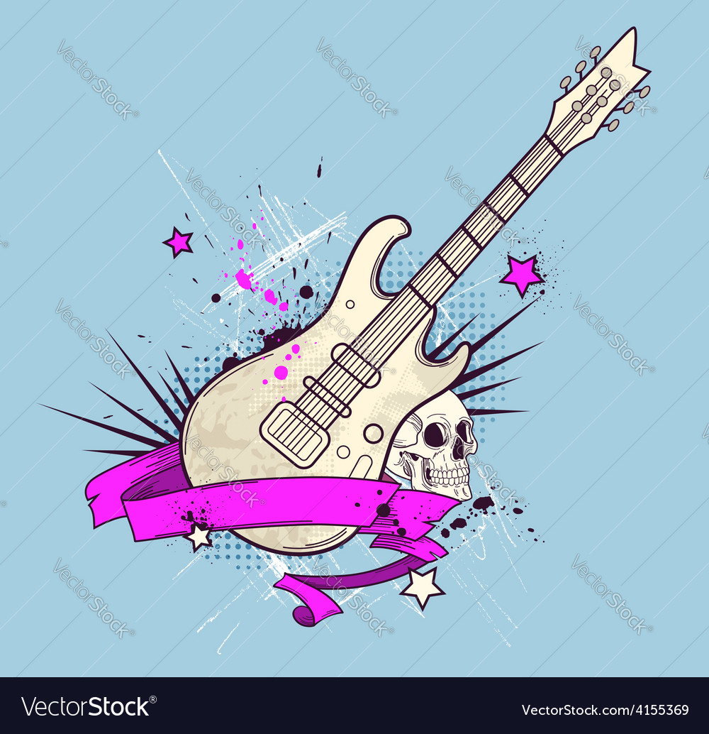Grunge background with electric guitar vector | Price: 1 Credit (USD $1)