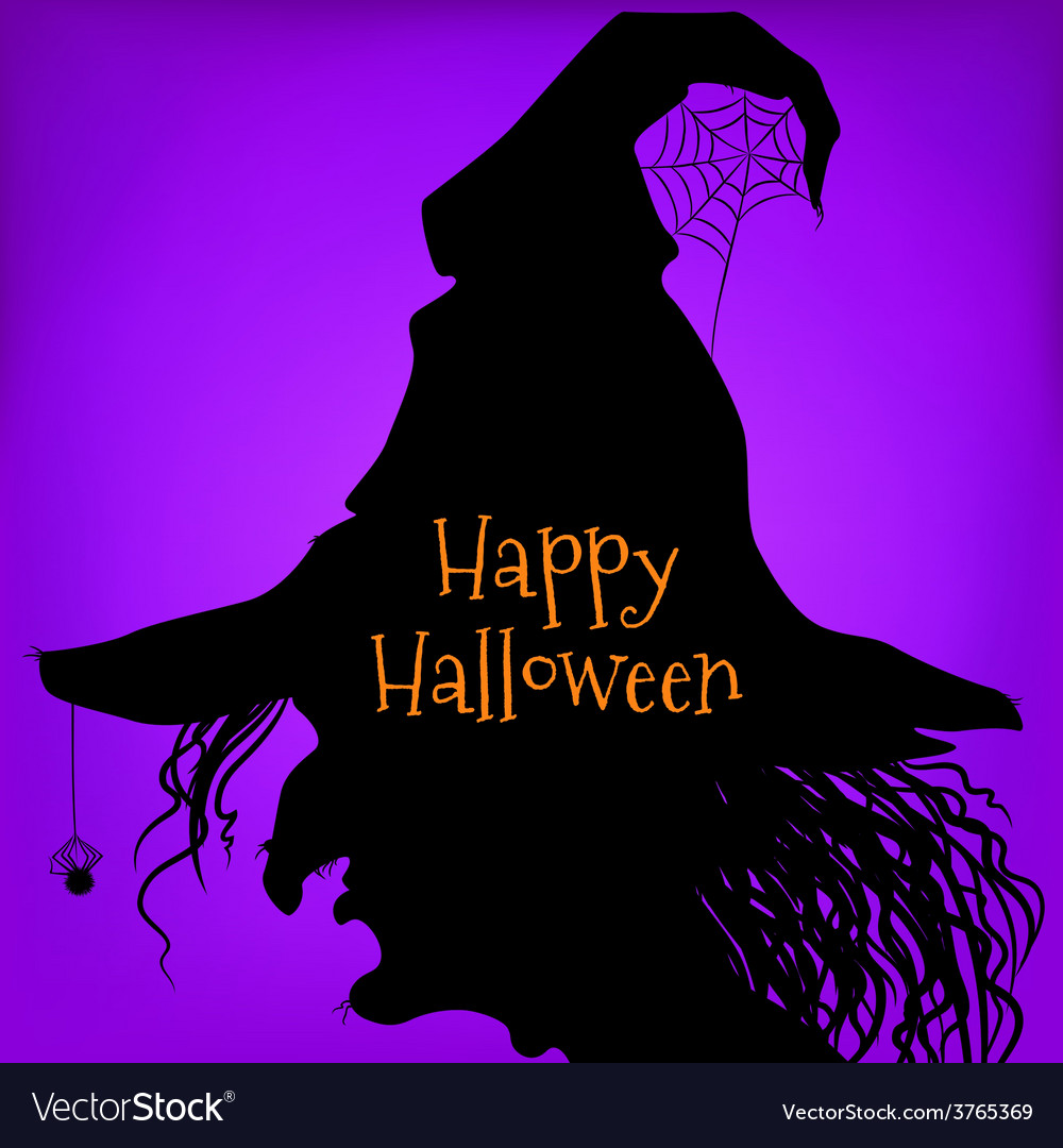 Halloween witch purple vector | Price: 1 Credit (USD $1)