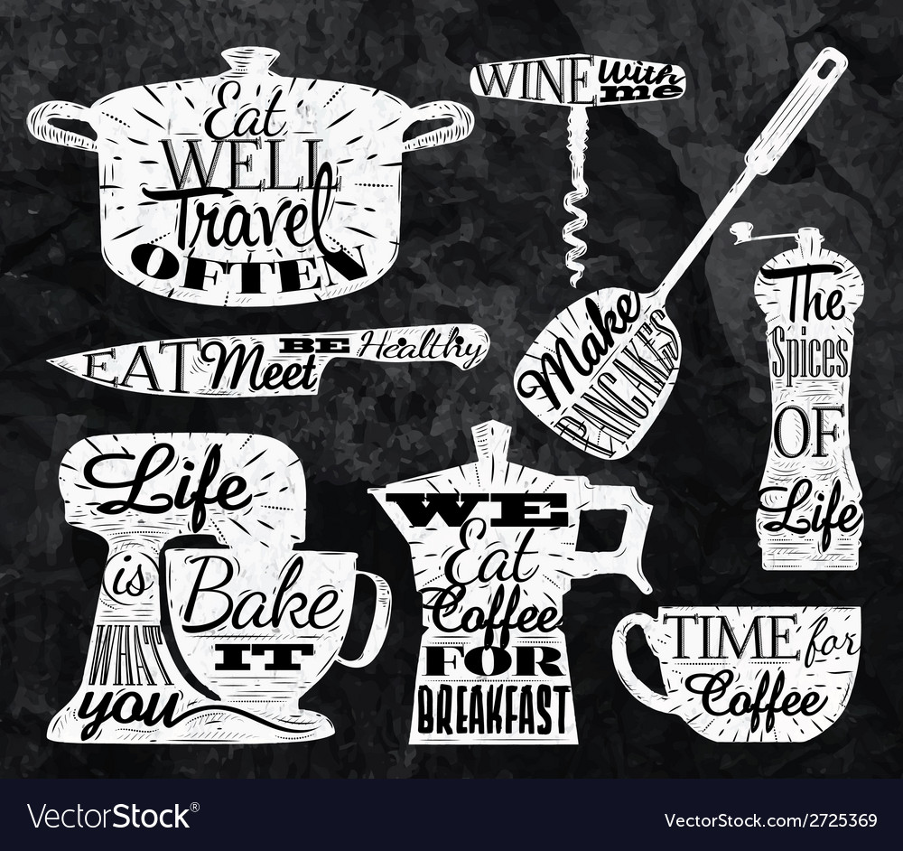 Kitchen symbol vintage lettering with chalk vector