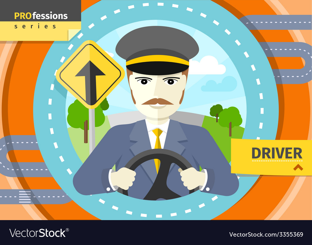 Male driver in uniform and cap behind the wheel vector | Price: 1 Credit (USD $1)