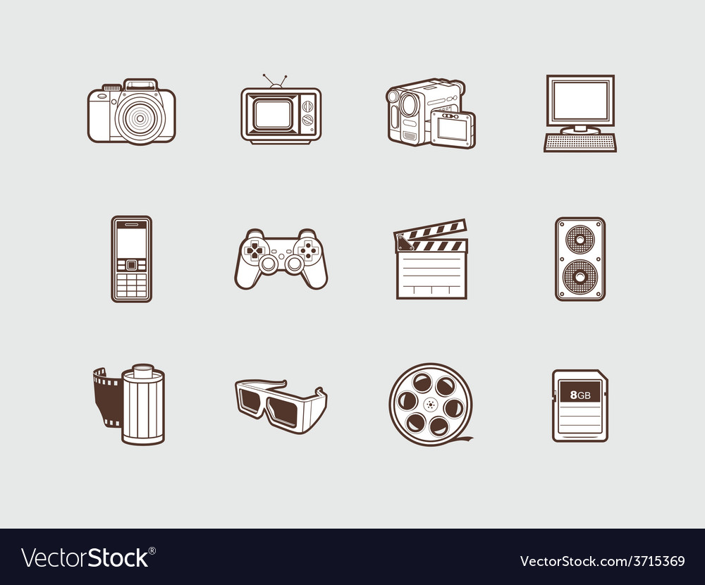 Photo and video icons vector | Price: 1 Credit (USD $1)