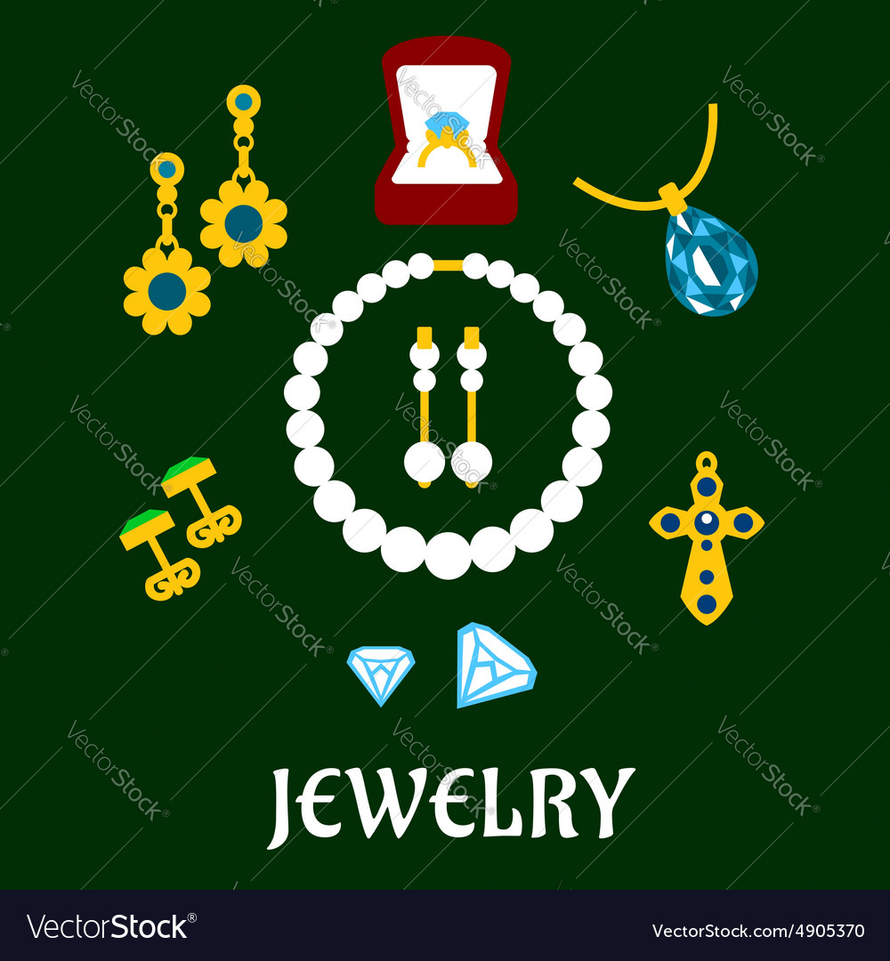 Assorted flat luxury jewelries icons vector
