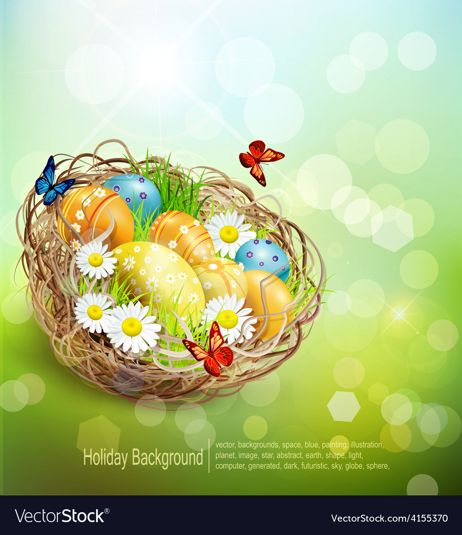 Background with easter nest and eggs on spring bac vector | Price: 3 Credit (USD $3)
