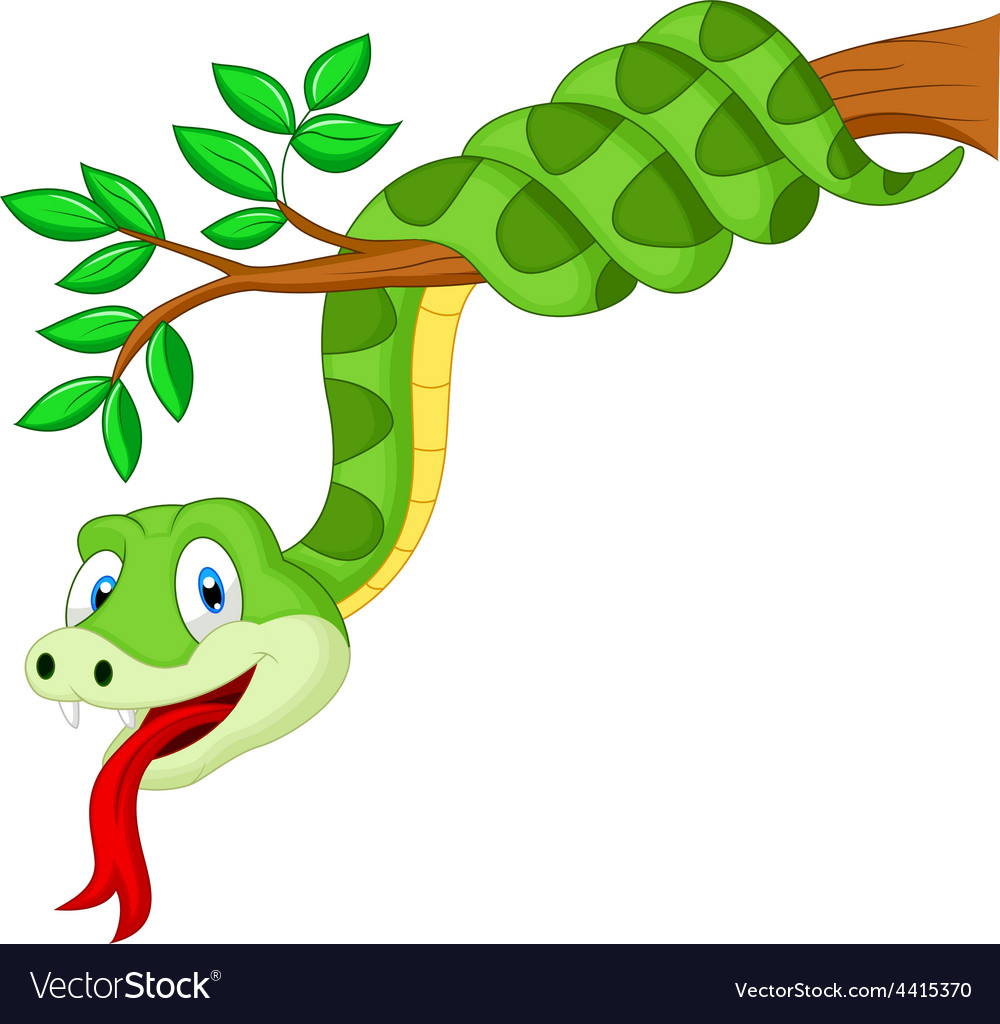 Cartoon green snake on branch vector | Price: 1 Credit (USD $1)