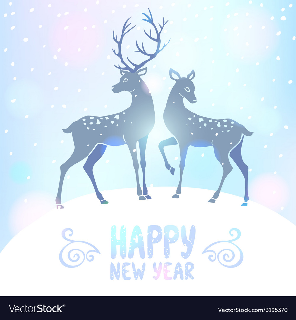 Deer silhouette new year vector | Price: 1 Credit (USD $1)