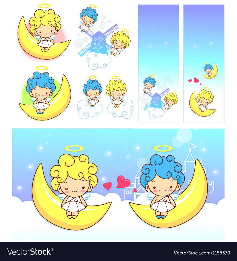 The fun moon on girls and boys angel mascot vector | Price: 1 Credit (USD $1)