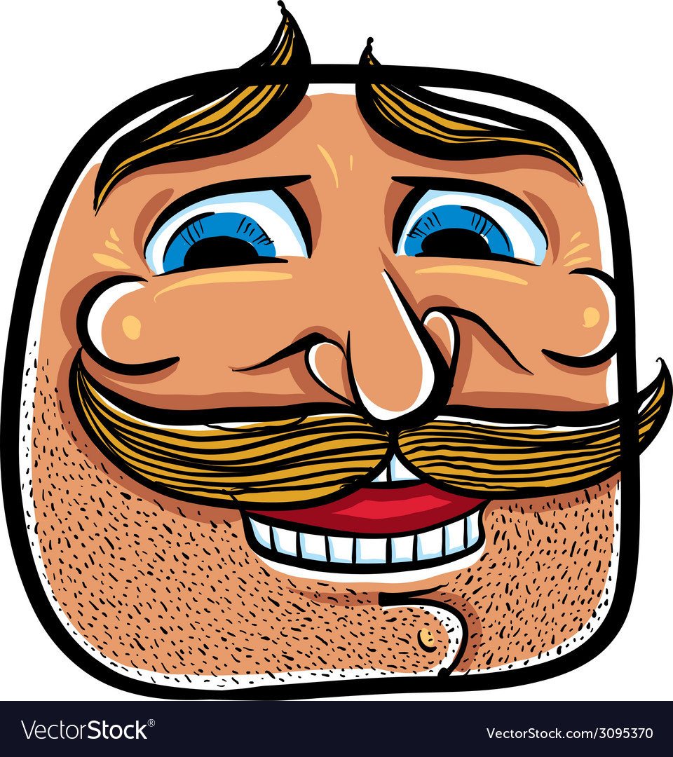 Happy cartoon face with mustaches vector | Price: 1 Credit (USD $1)