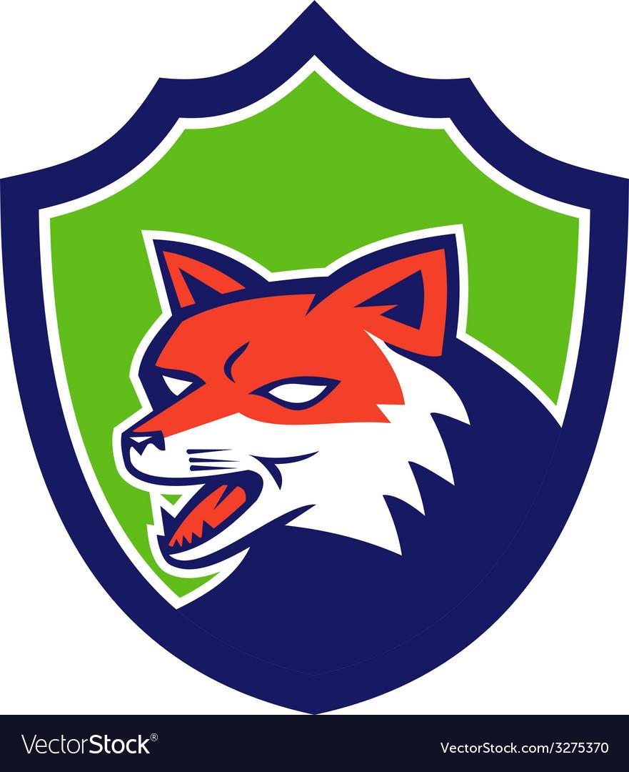 Red fox head growling shield retro vector | Price: 1 Credit (USD $1)