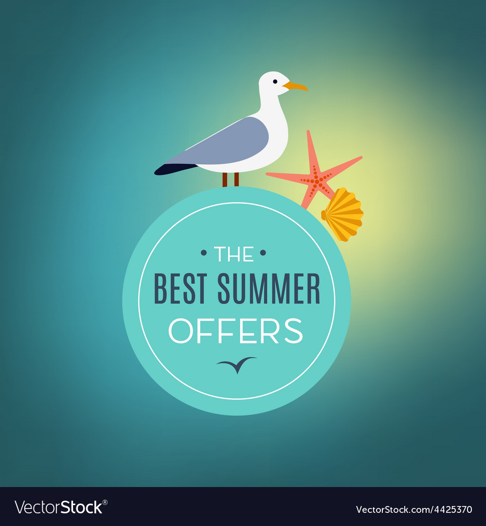 Seagull on the sign best summer offer vector | Price: 1 Credit (USD $1)